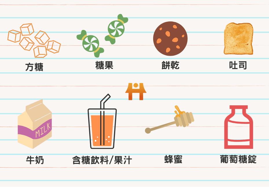低血糖時可補充的食物與飲品